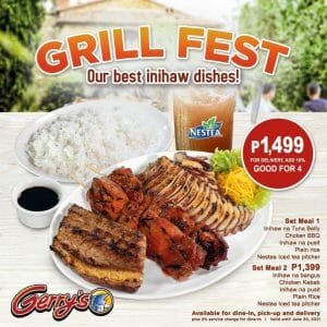 Gerry's Grill - Grill Fest: Inihaw Dishes for As Low As ₱1399