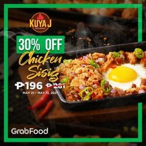 Kuya J Restaurant - Chicken Sisig for P196 (Was P281) via GrabFood