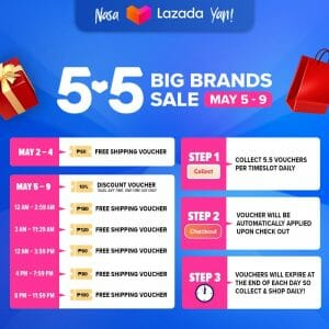 Lazada 5.5 Big Brands Sale Vouchers Cheat Sheet