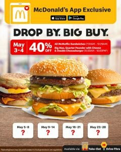McDonald's - App Exclusive: Get 40% Off on A La Carte McMuffin Sandwiches and Big Burgers