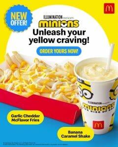 McDonald's Minions Offer: Garlic Cheddar McFlavor Fries and Banana Caramel Shake Combo