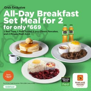 Pancake House - All-Day Breakfast for 2 for ₱669 via GrabFood and Foodpanda