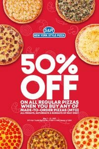 S&R New York Style Pizza - Get 50% Off on Classic Pizzas