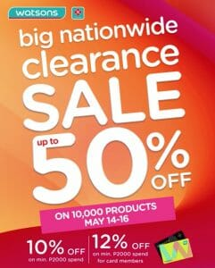 Watsons - Big Nationwide Clearance Sale: Get Up to 50% Off
