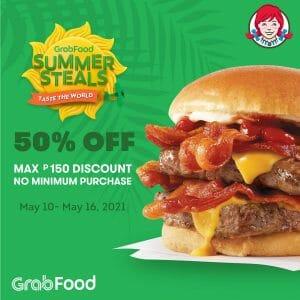Wendy's - Get Up to P150 Discount via GrabFood