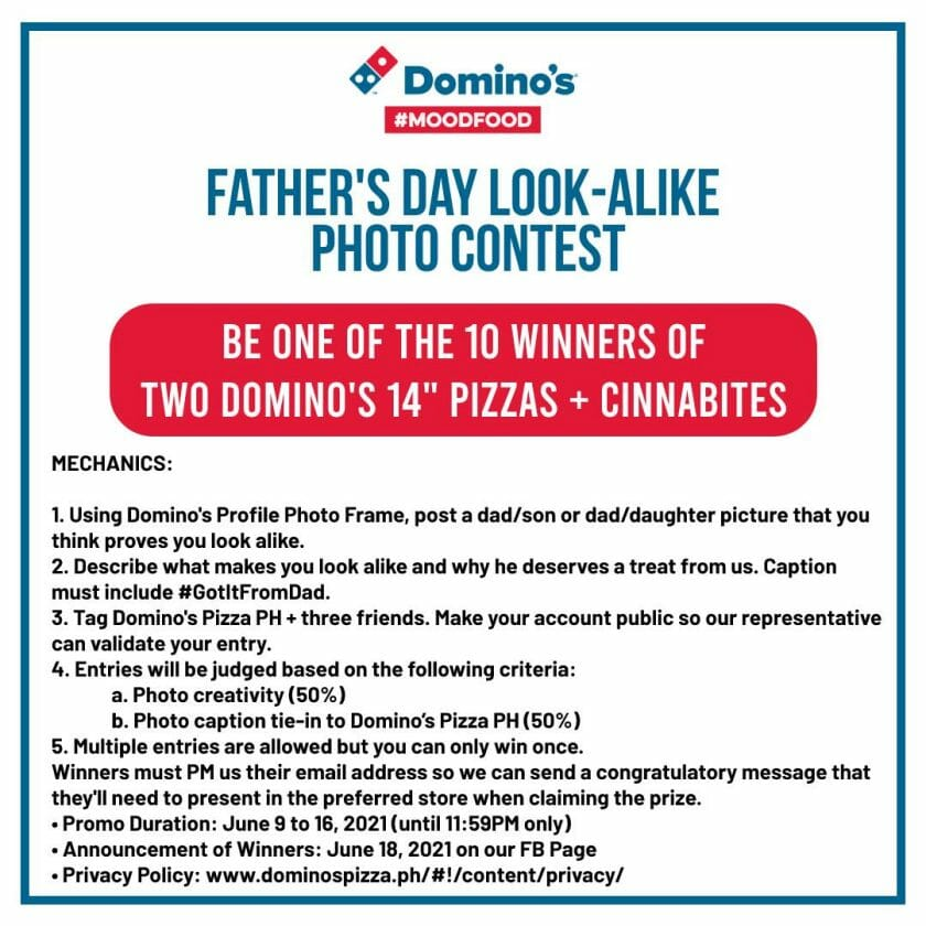 Domino's Pizza Father's Day Look-Alike Photo Contest