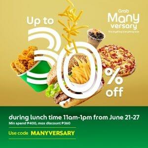 GrabFood - GrabManyversary Promo: Get Up to 30% Off