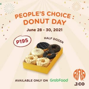 J.CO Donuts and Coffee - Get Half Dozen Pre-Assorted Donuts for P195 via GrabFood