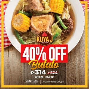 Kuya J Restaurant - Bulalo for P314 (Was P524) via Central Delivery