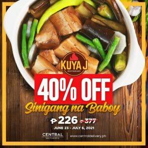 Kuya J Restaurant - Sinigang na Baboy for P226 (Was P377) via Central Delivery