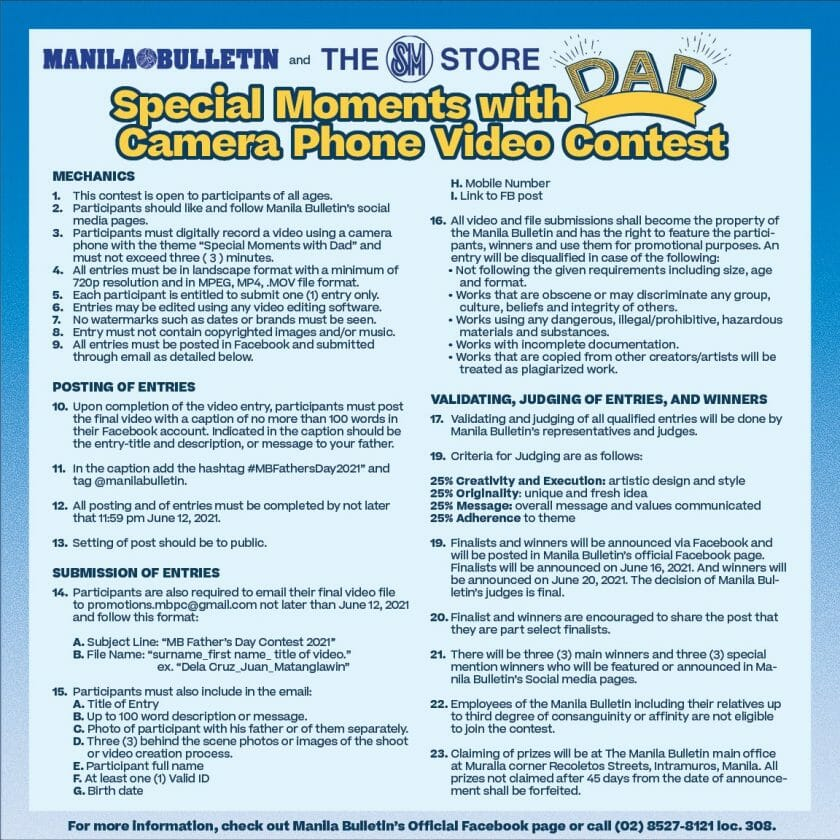 Manila Bulletin The SM Store Special Moments with Dad Contest 2 Jun21
