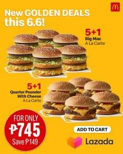 McDonald's - 6.6 Deal: 5+1 Burger Bundle Deal for P745 (Save P149) via Lazada