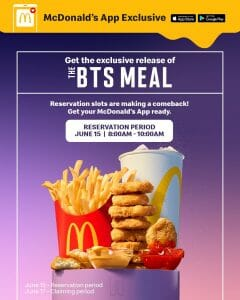 Extended: Reserve Your McDonald's BTS Meal via the McDo App on June 15