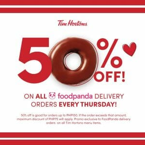 Tim Hortons - Get Up to P75 Off via Foodpanda Every Thursday