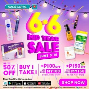 Watsons - 6.6 Deal: Mid-Year Sale: Get Up to 50% Off