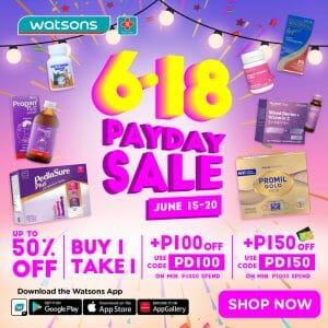 Watsons - Payday Sale: Get Up to 50% Off and Buy 1 Take 1 Deals