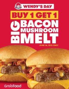 Wendy's - Buy 1 Get 1 Big Bacon Mushroom Melt via GrabFood