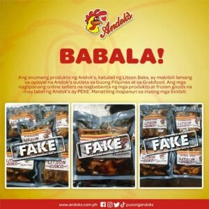 Andok's Issued Warning on Fake Products Sold Online