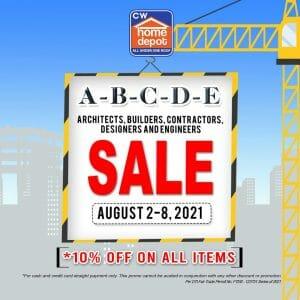 CW Home Depot - A-B-C-D-E Sale: Get 10% Off