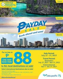 Cebu Pacific Air - Payday Seat Sale: As Low As P88