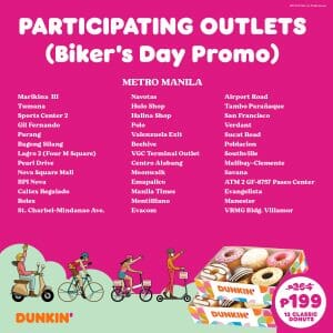 Dunkin Donuts Participating Outlets Jul21 1