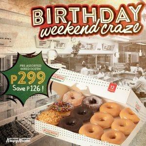 Krispy Kreme - Birthday Weekend Craze: Pre-Assorted Mixed Dozen for P299 (Save P126)