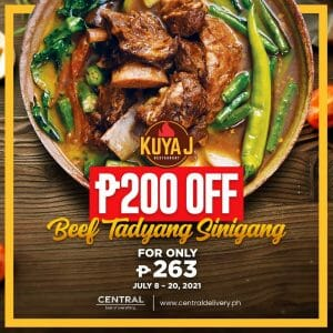 Kuya J Restaurant - Beef Tadyang Sinigang for P263 (Save P200) via Central Delivery