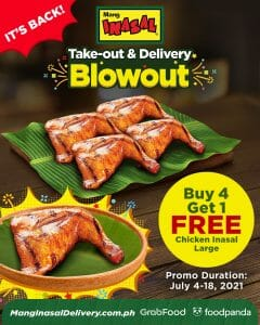 Mang Inasal - Take-out and Delivery Blowout: Buy 4 Get 1 FREE Chicken Inasal Large