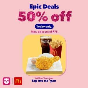 McDonald's - Get Up to P75 Off via Foodpanda