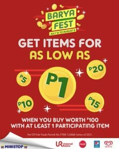 Ministop - Barya Fest: Get Items for As Low As P1
