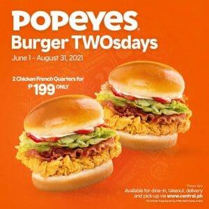 Popeyes - Burger TWOsdays Promo for P199