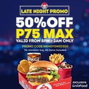 Wendy's - Late Night Promo: Get Max P75 Discount via GrabFood