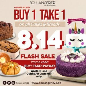 Boulangerie22 - 8.14 Flash Sale: Buy 1 Take 1 on All Cakes and Breads