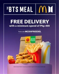 McDonald's - FREE Delivery on The BTS Meal via GrabFood