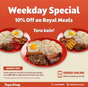 Tapa King - Weekday Special: Get 10% Off on Royal Meals