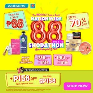 Watsons - Nationwide 8.8 Shopathon: Get Up to 70% Off