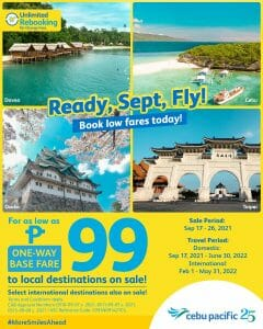 Cebu Pacific Air - September CEB Seat Sale: For As Low As P99