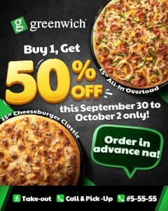 Greenwich Pizza - Buy 1 Get 50% Off Promo