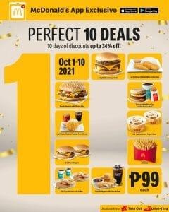 McDonald's - Perfect 10 Deals for P99