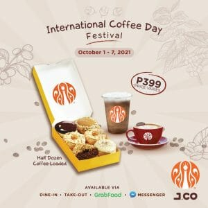J.CO Donuts and Coffee - International Coffee Day Donut and Drink Bundle for P399